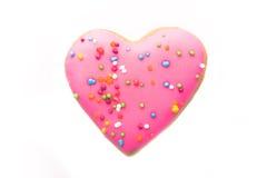 Biscotto a forma di del cuore Fotografie Stock