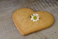 Biscotto a forma di del cuore decorativo Fotografie Stock