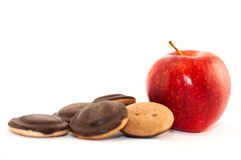 Biscotto rosso maturo succoso della mela Fotografie Stock
