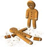 Biscotto tagliato divertente dell'uomo di pan di zenzero isolato Fotografie Stock Libere da Diritti
