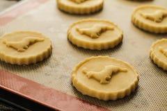Biscuists de la torta dulce listos para el owen Fotografía de archivo