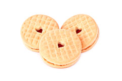 Biscuit. With heart shaped center isolated on white background royalty free stock photography