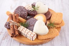 Biscuit. Assortment of biscuit on board royalty free stock photo