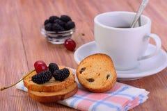 Biscuit avec la mûre et le thé Images stock