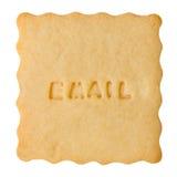 Biscuit avec le signe d'EMAIL Photo libre de droits
