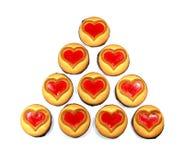 Biscuit avec un coeur, symbole de l'amour, jour du ` s de Valentine, d'isolement Image stock