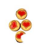 Biscuit avec un coeur, symbole de l'amour, jour du ` s de Valentine, d'isolement Photo libre de droits