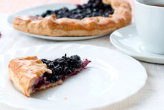 Biscuit with black currants and a cup of coffee Stock Images