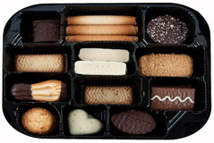 Biscuit box. A box full with various biscuits Stock Image