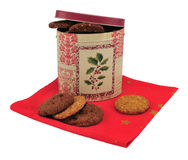 Biscuit box and cookies Stock Photos