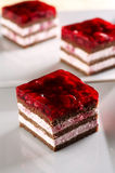 Biscuit cake. With raspberry cream and jelly stock photos