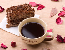 Biscuit cake with cup of coffee Royalty Free Stock Photos