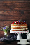 Biscuit cake. Delicious biscuit cake with berries on cake stand Stock Photos
