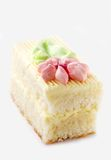 Biscuit cake. Piece biscuit cake  on white background Stock Photography
