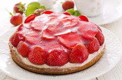 Biscuit Cake with Strawberries Royalty Free Stock Photography