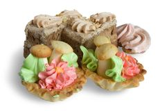 Biscuit cakes. With an oil cream. Isolated Royalty Free Stock Photo