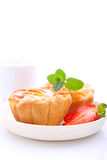 Biscuit cakes with curd filling Stock Photos