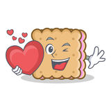 Biscuit cartoon character style with heart Stock Photography