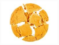 Biscuit cassé d'isolement Photographie stock