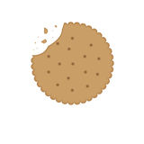 Biscuit cookie  with bite. Crispy biscuit cookie with bite vector illustration isolated on white background Stock Photos