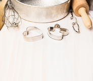 Biscuit or cookie cutter with various bake utensils Stock Photography