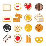 Biscuit, cookie - food, dessert, sweets vector icons set Royalty Free Stock Photo