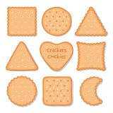Biscuit cookie snacks. Vector cookies biscuits for teatime isolated, breakfast dessert pastry, homemade pie chips icons. Biscuit cookie snacks. Vector cookies stock illustration