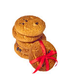Biscuit cookies with chocolate and a red ribbon Royalty Free Stock Photo