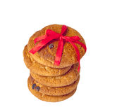 Biscuit cookies with chocolate and a red ribbon Royalty Free Stock Image