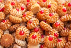 Biscuit cookies with jam. On a counter of shop Stock Image