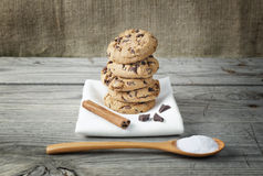 Biscuit cookies wooden table Royalty Free Stock Images