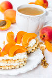 Biscuit with cream cheese and apricots Stock Images