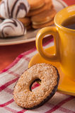 Biscuit with cup of tea and decoration Stock Images