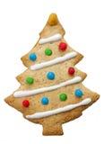 Biscuit décoré fait maison d'arbre de Noël d'isolement Photo libre de droits