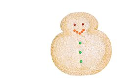Biscuit d'isolement de bonhomme de neige de Noël Image libre de droits