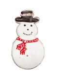 Biscuit de bonhomme de neige d'isolement sur le blanc Images libres de droits