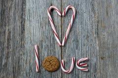 Biscuit de canne et de Gingersnap de sucrerie Image libre de droits