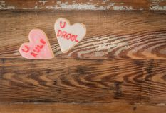 Biscuit de coeur de bave de règle d'U et d'U image stock