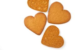 Biscuit de coeur d'isolement sur le blanc Images stock