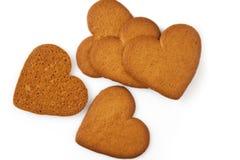 Biscuit de coeur d'isolement sur le blanc Photographie stock