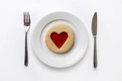 Biscuit de coeur de bourrage Photos libres de droits