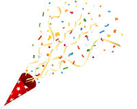 Biscuit de explosion de partie avec des confettis et flamme sur le fond blanc Image stock