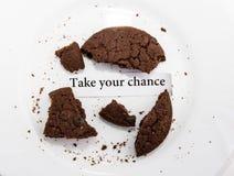Biscuit de farine d'avoine avec la future note de prévision Image libre de droits