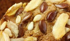 Biscuit de farine d'avoine avec le lin textile et les graines de sésame Photos stock