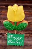 Biscuit de fleur, carte de Pâques heureuse Image libre de droits