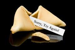 Biscuit de fortune : Désolé, essai de nouveau ! Images stock