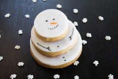 Biscuit de Noël de bonhomme de neige Photo libre de droits