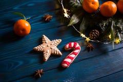 Biscuit de Noël et canne de caramel avec l'agrume, les branches impeccables, les lumières de guirlande et l'anis d'étoile sur la  photographie stock libre de droits