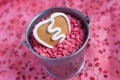 Biscuit de pain d'épice de Valentine de forme de coeur Photos stock