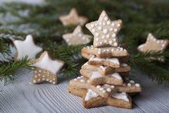 Biscuit de pain d'épice du ` s de nouvelle année sous forme d'astérisques Photographie stock libre de droits
